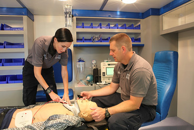 students practice in ambulance 3